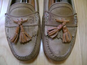 Men-039-s-Shoes-CABLE-amp-CO-Driving-Loafers-Sz-8-D-Brown-Leather-Tassel-LITE-WEAR