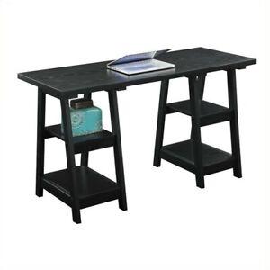 Convenience Concepts Designs2Go Double Trestle Desk - Black