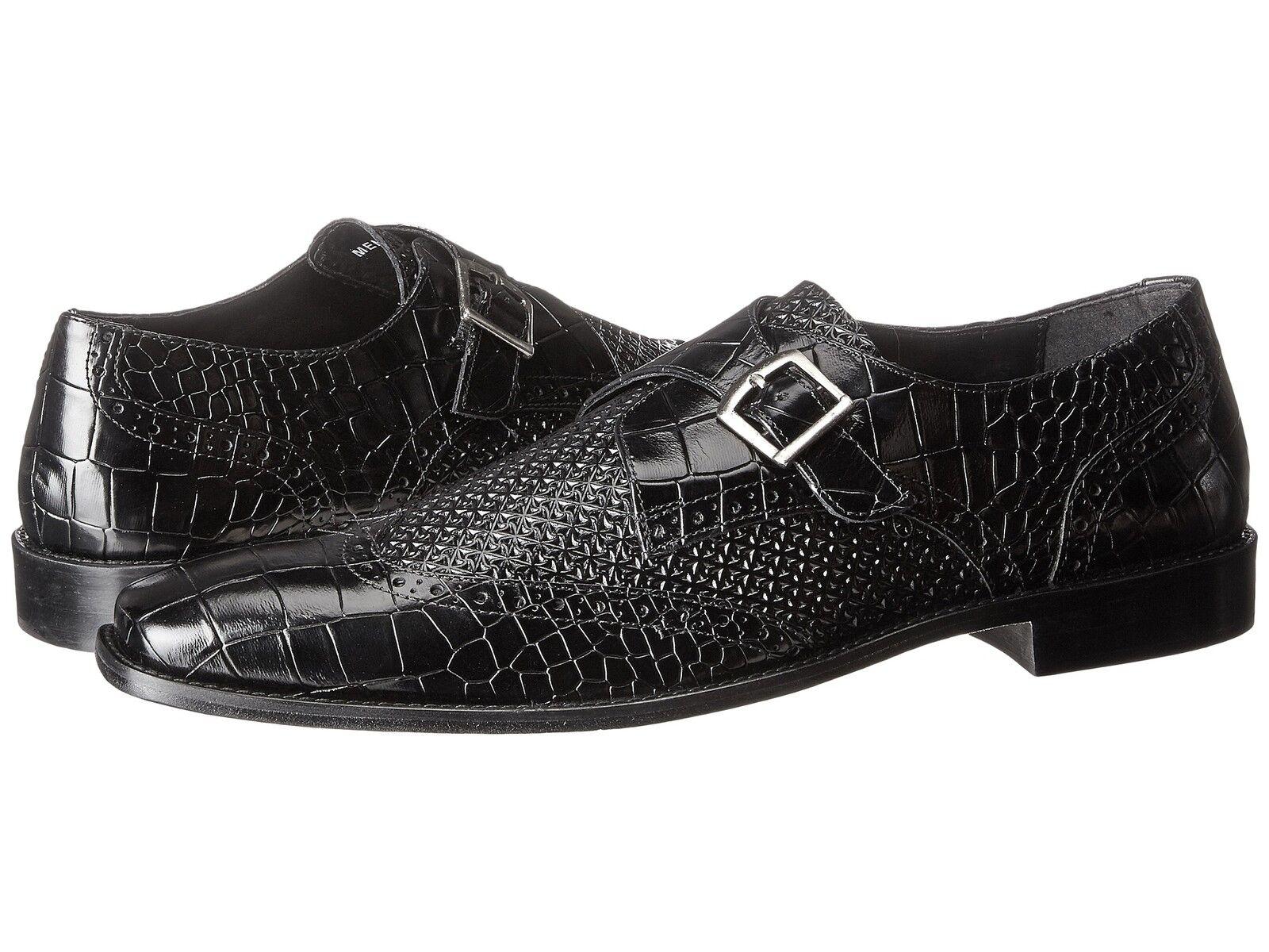Stacy Adams Para Hombre Monje Correa de extremo de ala Cuero Negro Giannino Zapatos 25084-001
