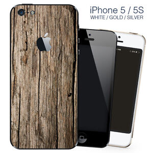 new arrival b6e13 96c20 Details about Brown Wood Design vinyl skin Sticker for Apple iPhone 5, 5S,  SE, back cover only