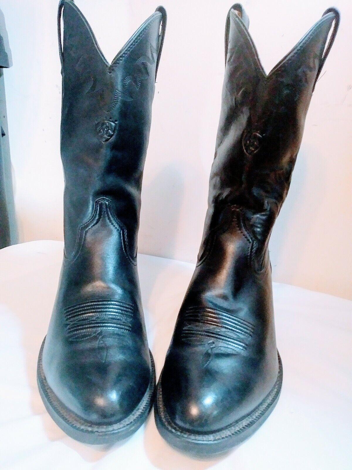 Ariat Heritage 10D pour homme Pleine Fleur Noir en Cuir à Enfiler Western Cowboy bottes