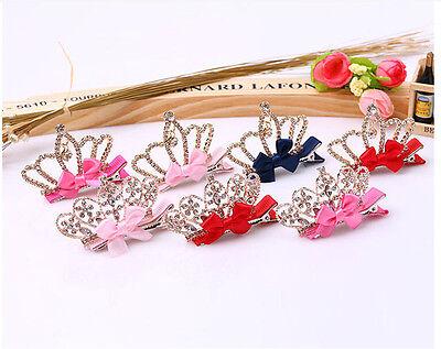 Baby Girl Crystal Hair Clip Rhinestone Princess Bow Knot Crown Headband Hairpin
