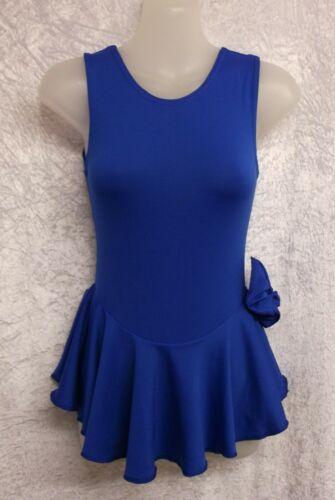 7-8 YEARS MAJORETTES ROYAL BLUE MATT SPANDEX SLEEVELESS SKATE DRESS LEOTARD