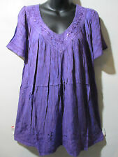 Top Fits 1X 2X 3X Plus Tunic Slate Purple Marble Tie Dye Sequins V Neck NWT 5780