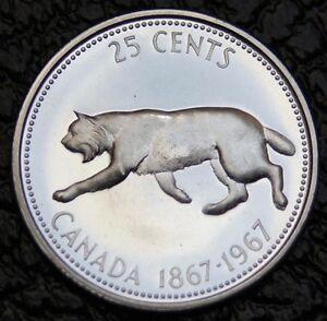 1967-GEM-LYNX-Cat-25-Cent-Quarter-Beautiful-Silver-Coin-High-Grade