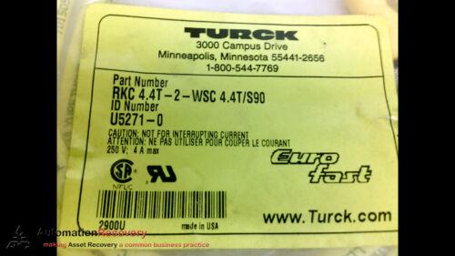 90º//ST TURCK RKC 4.4T-2-WSC 4.4T//S90 2METERS N #206747 MALE//FEMALE CORDSET