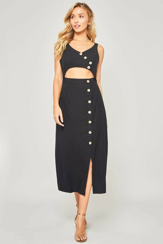 Promesa sleeveless button down cut out midi boho Midi dress S M L