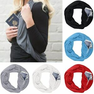 Convertible-Infinity-Scarf-With-Pocket-Loop-Scarf-Women-Winter-Zipper-Pocket-NEW
