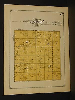 Humorous Minnesota Lac Qui Parle County Map Manfred Township 1913 W3#09 Always Buy Good Antiques