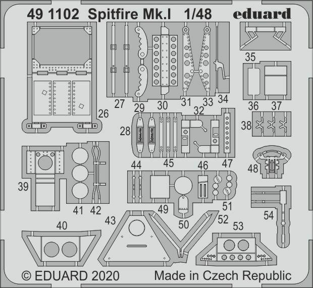 Eduard 1/48 Spitfire Mk.I Detail Set for Airfix kits