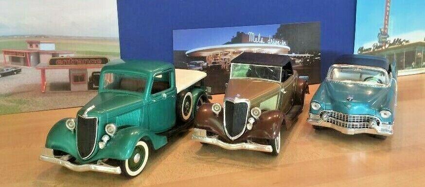 Lot of 3 Solido die cast  1934 Ford Cabriolet, 1936 Ford Pickup, 1955 Eldorado