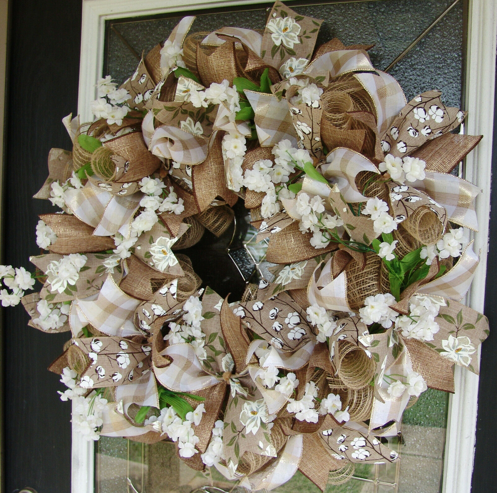 Magnolia Cotton Grapevine Welcome Wreath For Sale Online Ebay