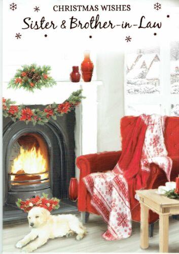 Sœur et beau-frère de Qualité Carte de Noël pour chien et Fire Design