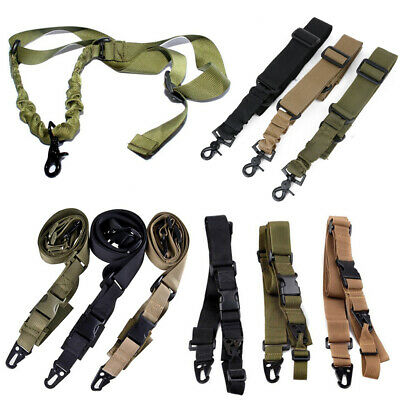 Tactical 1//2//3 Point Sling Adjustable Bungee Rifle Gun Sling Strap Hunting Cord