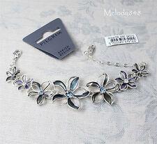 PILGRIM Bracelet VELVET FLOWER Silver Blue Enamel/Swarovski BNWT RRP £40