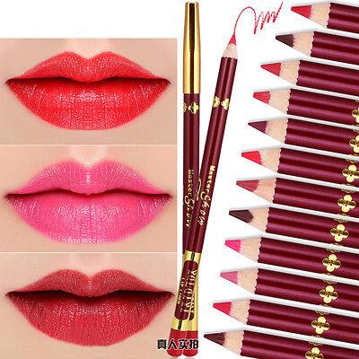 Professional Lipliner Waterproof wooden blend Lip Liner Pencil 12 Colors Tools