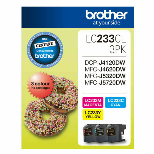 Brother Genuine LC233-CL 3PK C/M/Y 3 Ink Set MFC-J4620DW/J680DW/J880DW/J5720DW