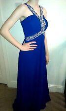 NEW Long Elegant PROM / EVENING / BRIDESMAID DRESS Sequin Royal Blue 12-14 UK