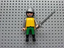 PLAYMOBIL PEOPLE - CASTLE SOLDIER - LARGE SWORD, HELMET, BLACK HAIR & BEARD