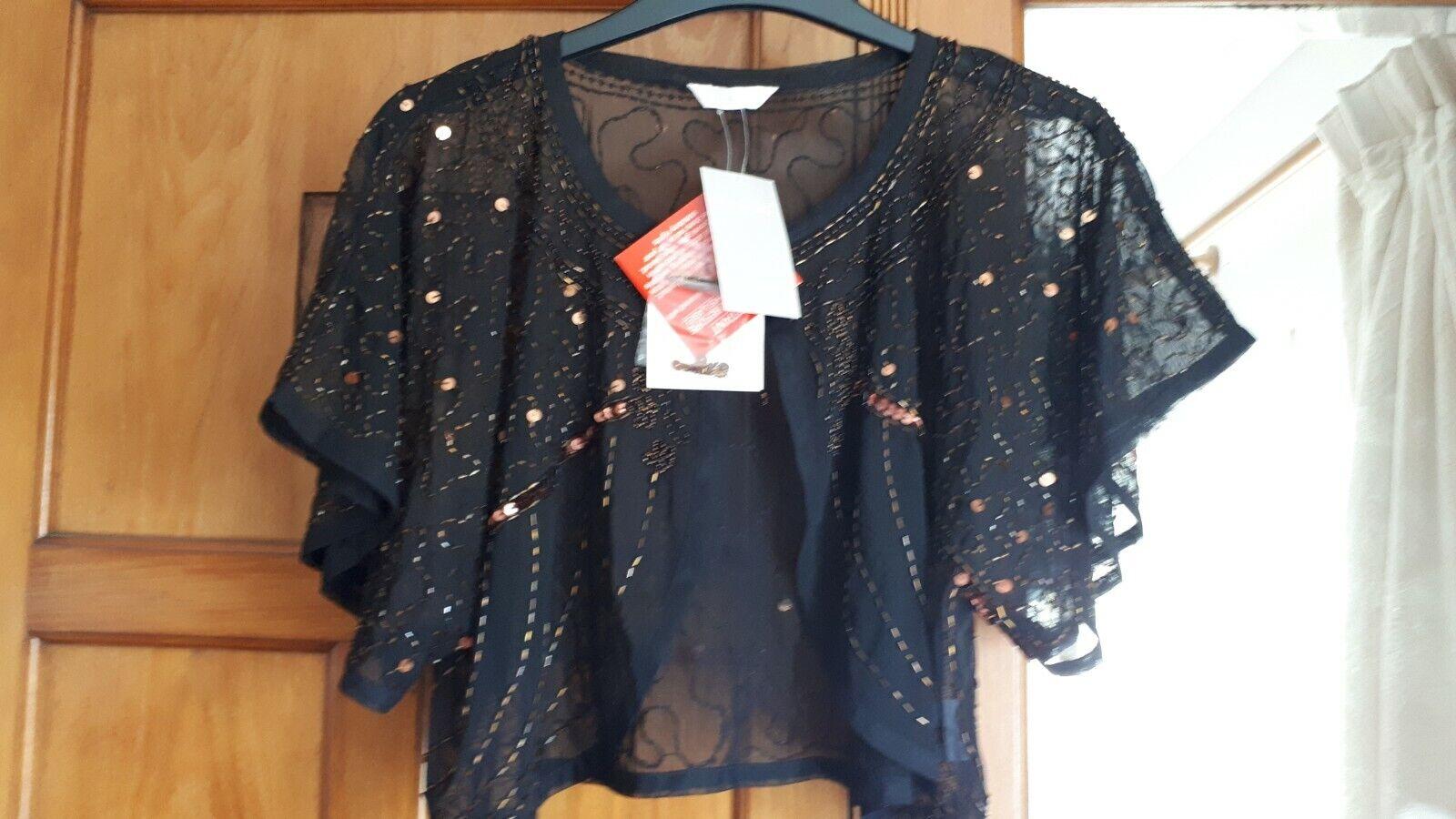 Berkertex dark brown / copper beaded shrug jacket with wide sleeves size 16