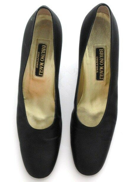 BRUNO MAGLI COUTURE SHOES BLACK HEEL RHINESTONE DETAILS SIZE 10 AAAA ITALY