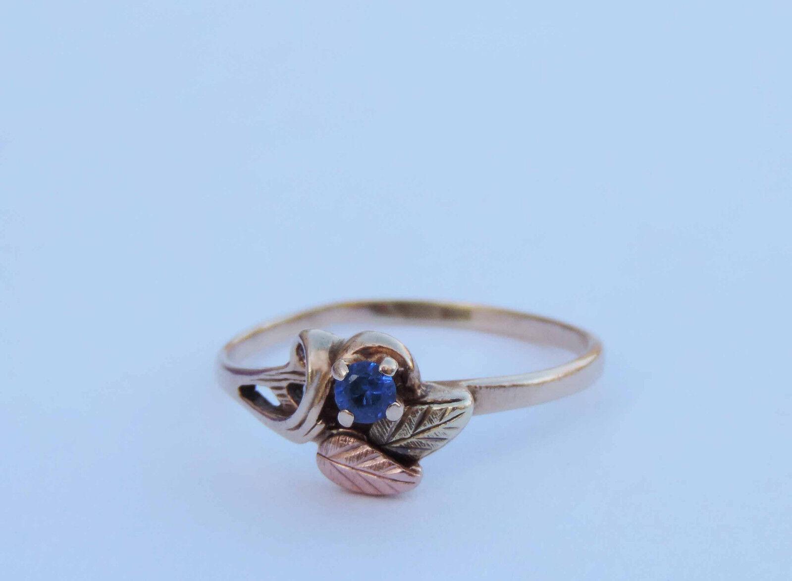 Ladies round man made blue sapphire gemstone ring 10k for Man made sapphire jewelry