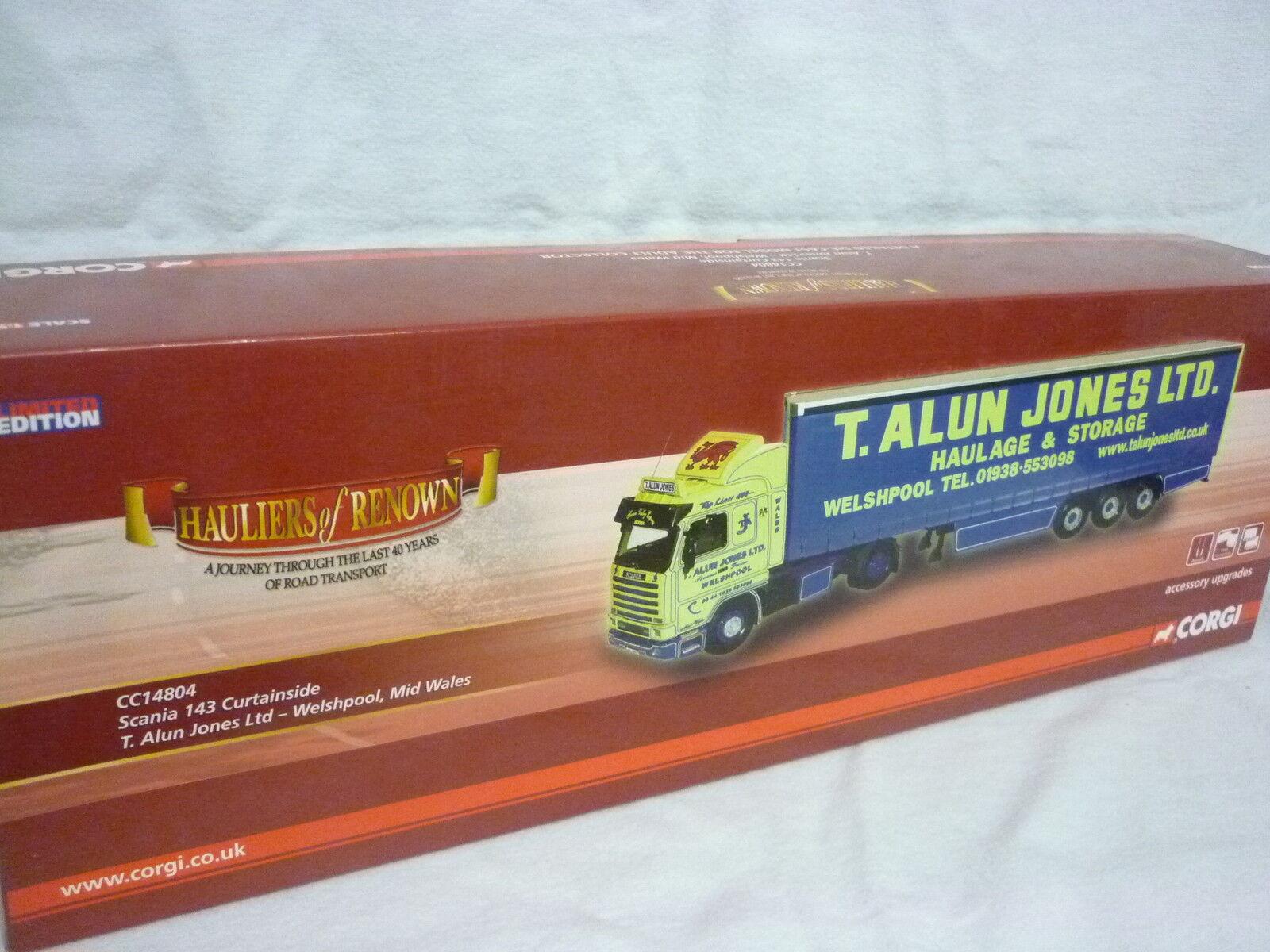 CORGI moderno Camion/ALAGGIO CC14804 SCANIA 143 CURTAINSIDE T. T. T. ALUN Jones 278607