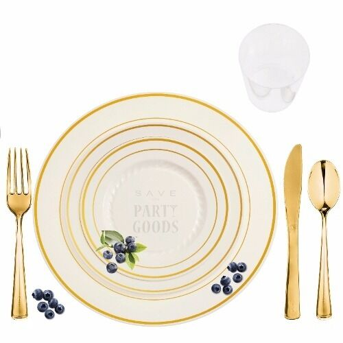 240 Full Table Settings Elegant Disposable Bone Gold Rimmed Plates-Cups-Cutlery