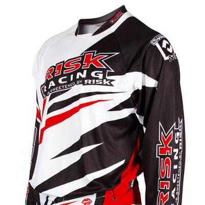 Risk Racing Vector X Grande Motocross Jersey Bianco Rosso + Nero Race Gear Bianchezza Pura