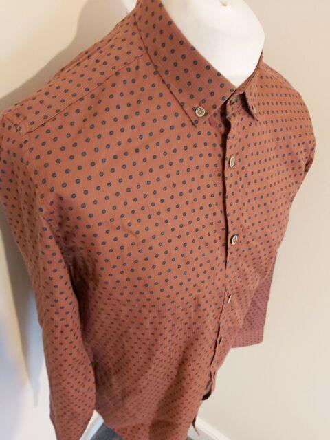 NWT Ted Baker men/'s size 6 short sleeve casual button down shirt,floral art patt