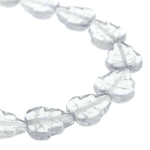 50 Transparent Clear Czech Pressed Glass 10x12mm Leaf Beads Leaves *