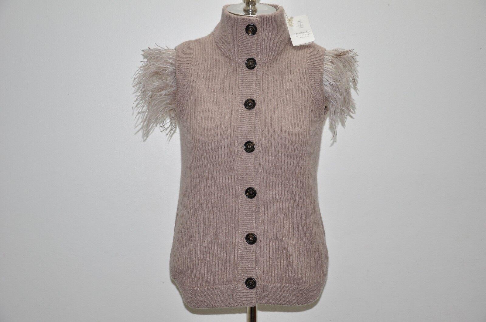 Brunello Cucinelli Ostrich Feather Fur 100% Cashmere Cardigan Sweater Vest XL