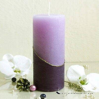 Stumpenkerze Rustic helllila/lila 18cm Kerzen Jubiläen Tischdeko Weihnachten