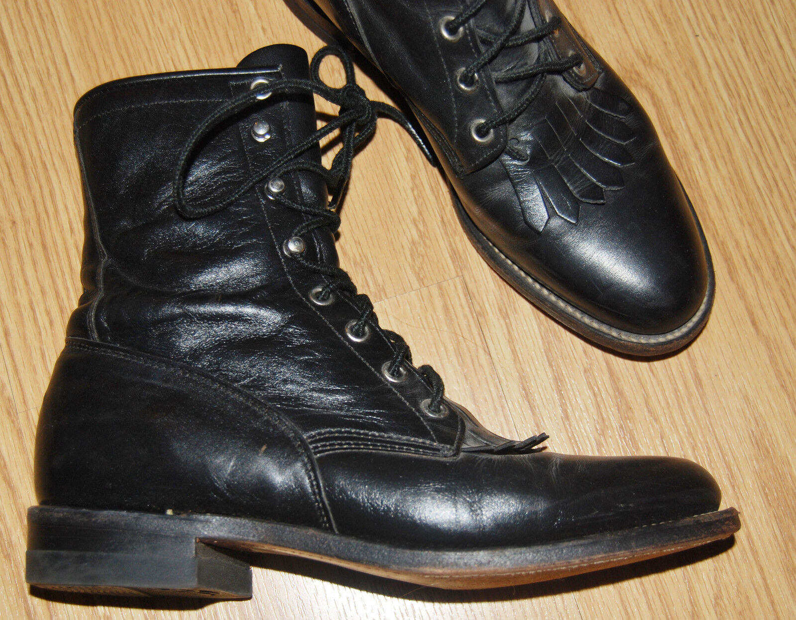 Vintage JUSTIN black leather lace up Victorian WESTERN riding work 7  BOOTS 6 B