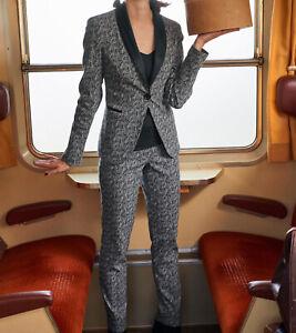 Details zu heine Blazer zeitloser Damen Hosen Anzug mit Kontrast Revers Kurzgröße Schwarz