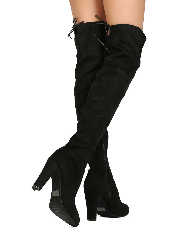 New Women Wild Diva Amaya-01 Faux Suede Thigh High Drawstring Chunky Heel Boot