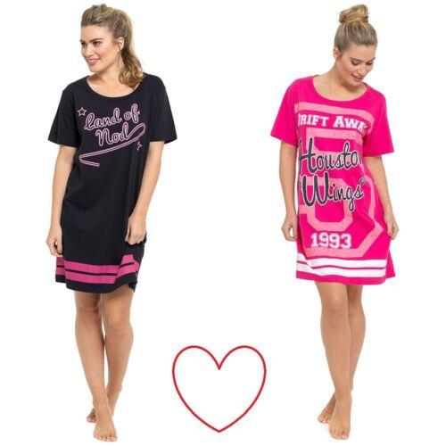 ladies black pink girls nightie slogan nightdress nightshirt short sleeve