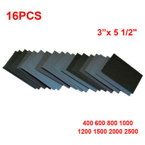 "Sandpaper WET DRY 28 pc 3/"" X 5.5/"" COMBO 400//600//800//1000//1200//1500//2000 Grit"
