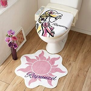 F/S Disney Tangled Rapunzel Toilet cover & rug set NDY-34 Ships from Japan