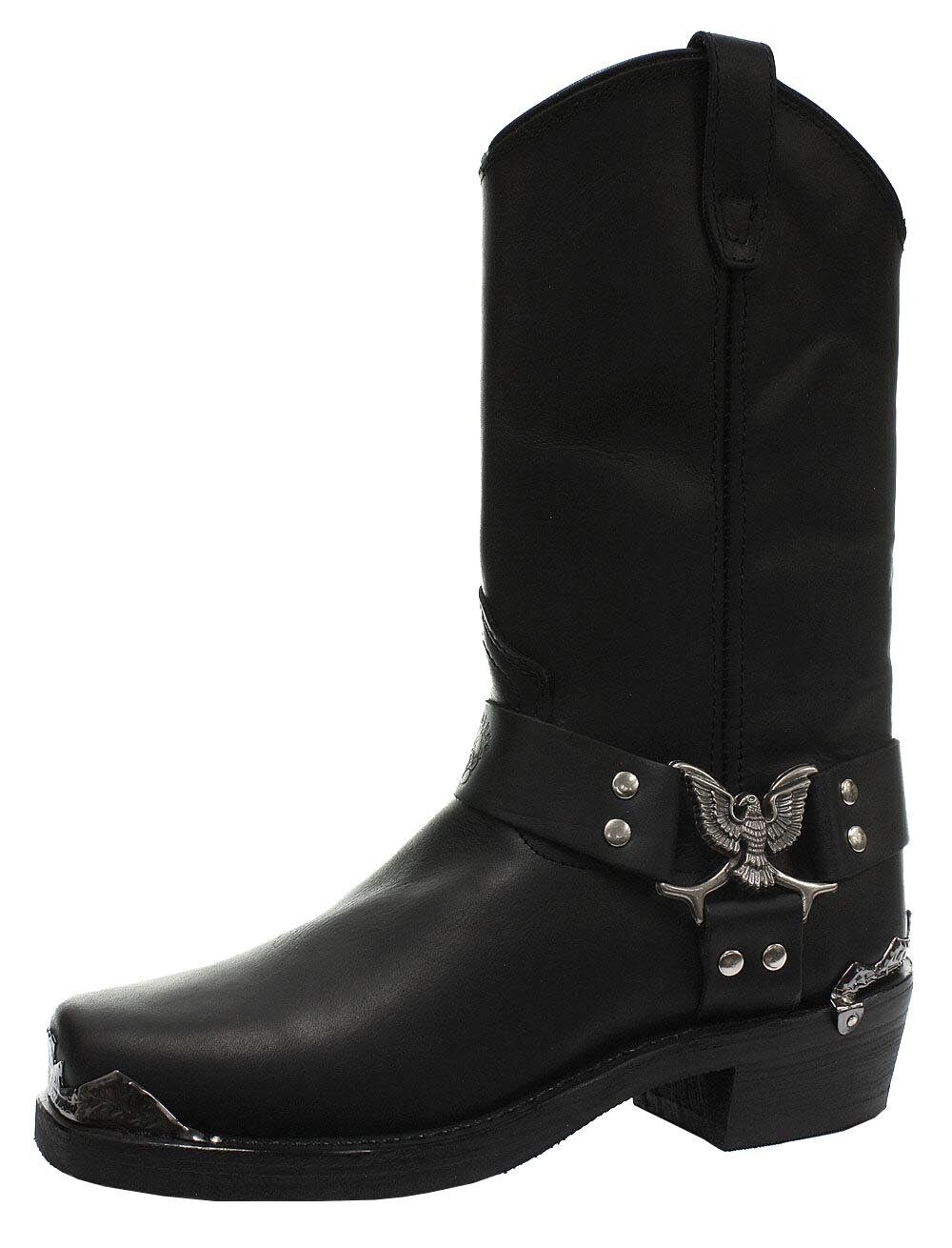 New Grinders Eagle Hi Black Unisex Leather Boot Cowboy Western Bikers High Boots