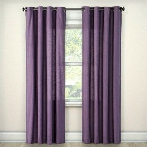 Threshold Natural Solid Refined Plum Purple One Window Curtain Panel 54 X 108