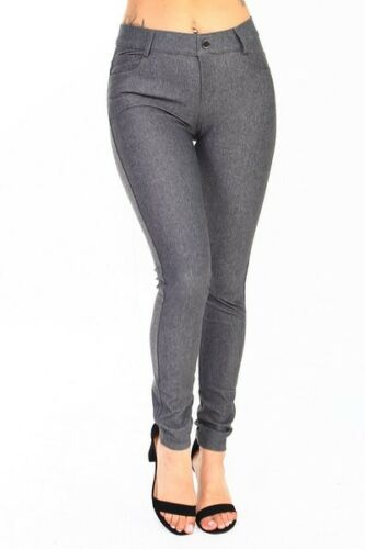 Yelete Women/'s Cotton-Blend 5-Pocket Skinny Jegging grey