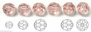 Czech Glass Machine Cut Faceted Round Crystal Beads, Rosaline, pink crystals