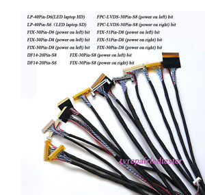 14Pcs Universal LVDS Cable 20pin 30pin 40Pin for LED LCD