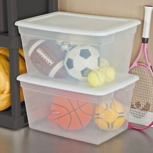 PLASTIC-TOTE-BOX-58-Qt-Clear-Stackable-Container-Bin-Storage-With-Lid-SET-OF-8