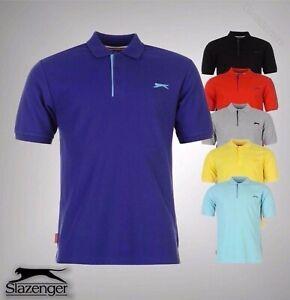 Para-Hombre-Slazenger-Llano-estilo-basico-de-manga-corta-camisa-de-Polo-TOP-TAMANOS-S-4XL