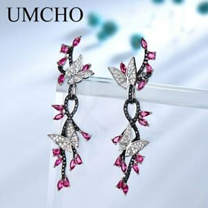 925-Sterling-Silver-Butterfly-Natural-Gemstone-Black-Spinel-Ruby-Drop-Earrings