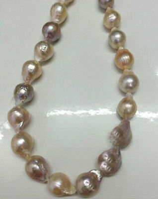 "Long 24"" Big 12-15mm Natural South Classic Baroque Lavender Akoya Pearl Necklace"