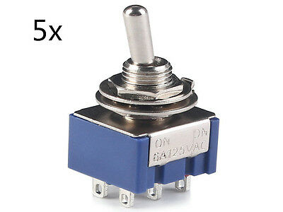 5x 6-Pin DPDT ON-ON Mini Toggle Switch 6A 125VAC Mini Switches