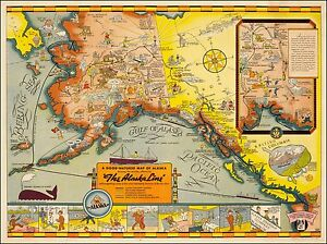 Good Natured Map of Alaska 1939 pictorial map 2nd edition POSTER 37051